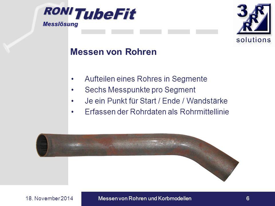 RONI TubeFit Messlösung 18. November 2014Messen von Rohren und Korbmodellen6 Messen von Rohren Aufteilen eines Rohres in Segmente Sechs Messpunkte pro