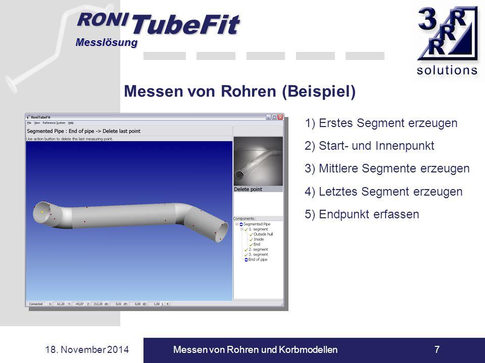 RONI TubeFit Messlösung 18. November 2014Messen von Rohren und Korbmodellen7 Messen von Rohren (Beispiel) 1) Erstes Segment erzeugen 2) Start- und Inn