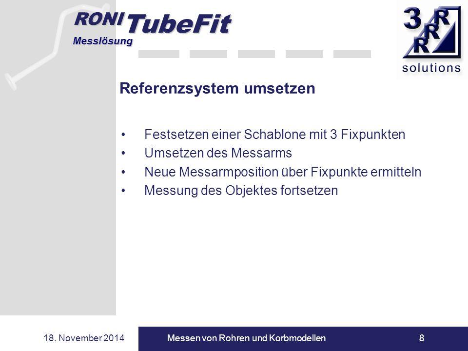 RONI TubeFit Messlösung 18. November 2014Messen von Rohren und Korbmodellen8 Referenzsystem umsetzen Festsetzen einer Schablone mit 3 Fixpunkten Umset
