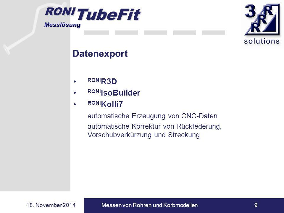 RONI TubeFit Messlösung 18. November 2014Messen von Rohren und Korbmodellen9 Datenexport RONI R3D RONI IsoBuilder RONI Kolli7 automatische Erzeugung v