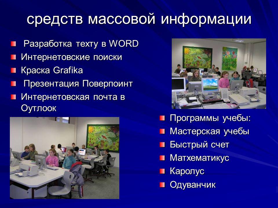 средств массовой информации Разработка теxту в WORD Разработка теxту в WORD Интернетовские поиски Краска Grafika Презентация Поверпоинт Презентация По