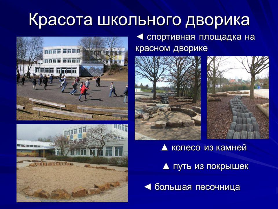Красота школьного дворика ◄ спортивная площадка на красном дворике ▲ колесо из камней ▲ путь из покрышек ◄ большая песочница