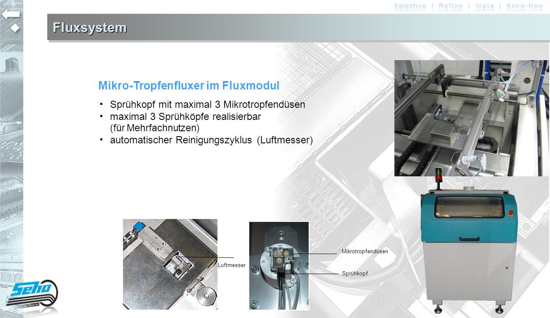 FluxsystemFluxsystem Mikro-Tropfenfluxer im Fluxmodul ▪ Sprühkopf mit maximal 3 Mikrotropfendüsen ▪ maximal 3 Sprühköpfe realisierbar (für Mehrfachnut