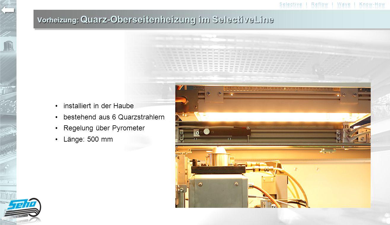 Vorheizung: Quarz-Oberseitenheizung im SelectiveLine installiert in der Haube bestehend aus 6 Quarzstrahlern Regelung über Pyrometer Länge: 500 mm
