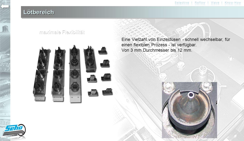 LötbereichLötbereich Eine Vielzahl von Einzeldüsen - schnell wechselbar, für einen flexiblen Prozess - ist verfügbar. Von 3 mm Durchmesser bis 12 mm.