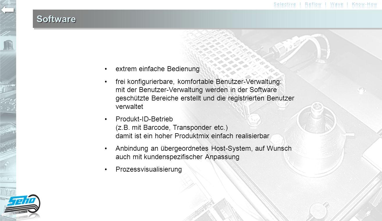 SoftwareSoftware extrem einfache Bedienung frei konfigurierbare, komfortable Benutzer-Verwaltung: mit der Benutzer-Verwaltung werden in der Software g