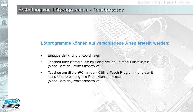 Erstellung von Lötprogrammen - Teachprozess Lötprogramme können auf verschiedene Arten erstellt werden: Eingabe der x- und y-Koordinaten Teachen über