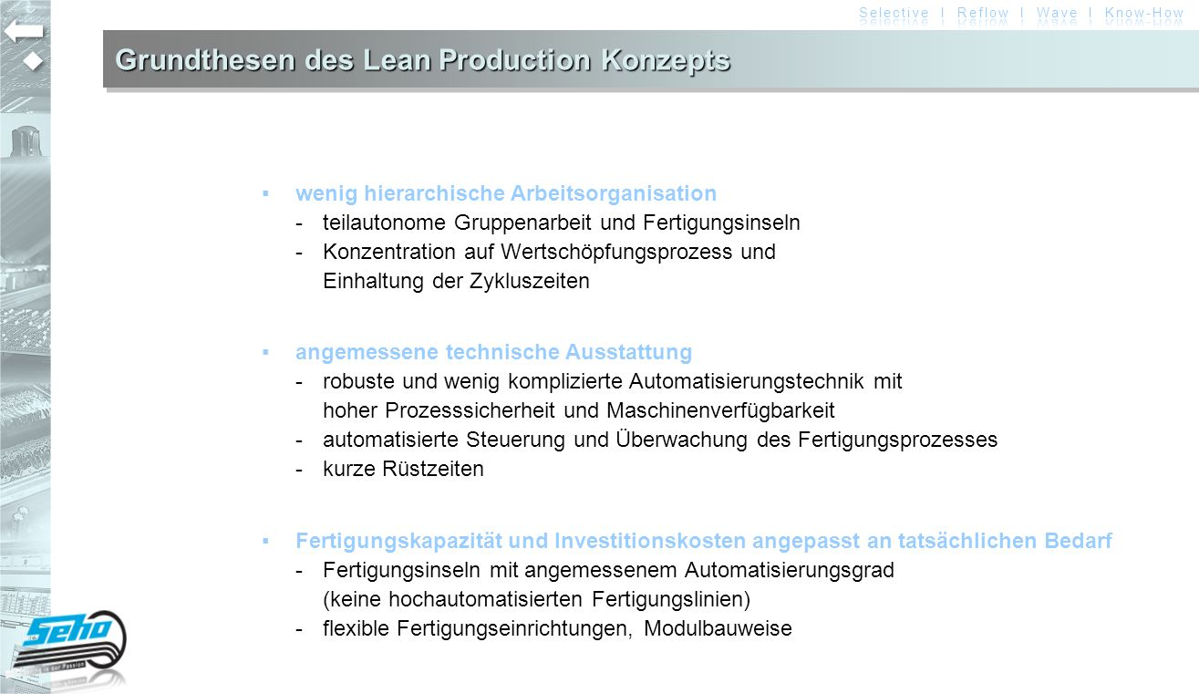 Lean Production mit SEHO SelectiveLine