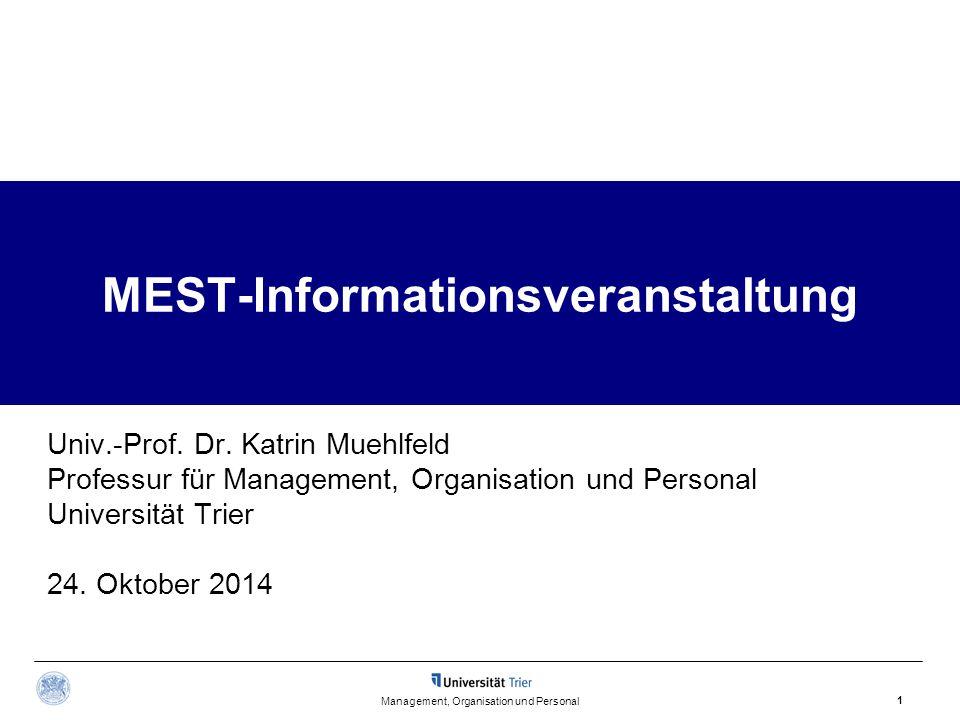 Management, Organisation und Personal 1 MEST-Informationsveranstaltung Univ.-Prof. Dr. Katrin Muehlfeld Professur für Management, Organisation und Per