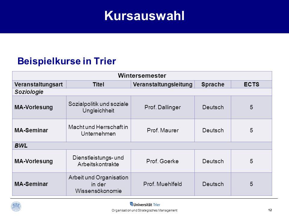Kursauswahl Beispielkurse in Trier Organisation und Strategisches Management 12 Wintersemester VeranstaltungsartTitelVeranstaltungsleitungSpracheECTS