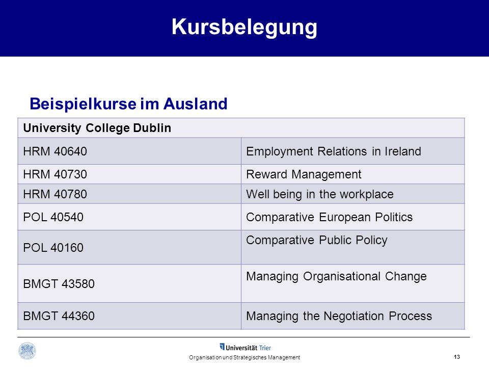 Kursbelegung Beispielkurse im Ausland Organisation und Strategisches Management 13 University College Dublin HRM 40640Employment Relations in Ireland