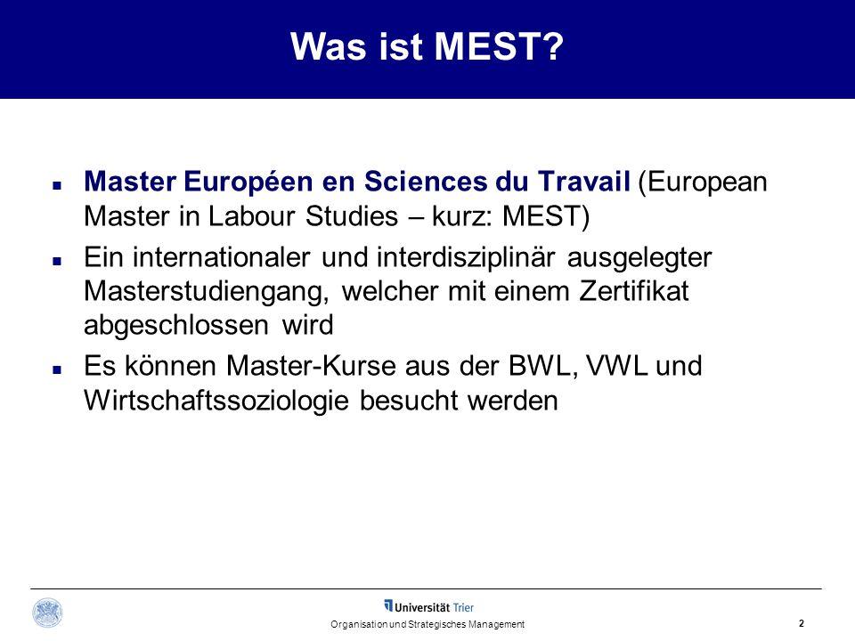 Was ist MEST? Master Européen en Sciences du Travail (European Master in Labour Studies – kurz: MEST) Ein internationaler und interdisziplinär ausgele