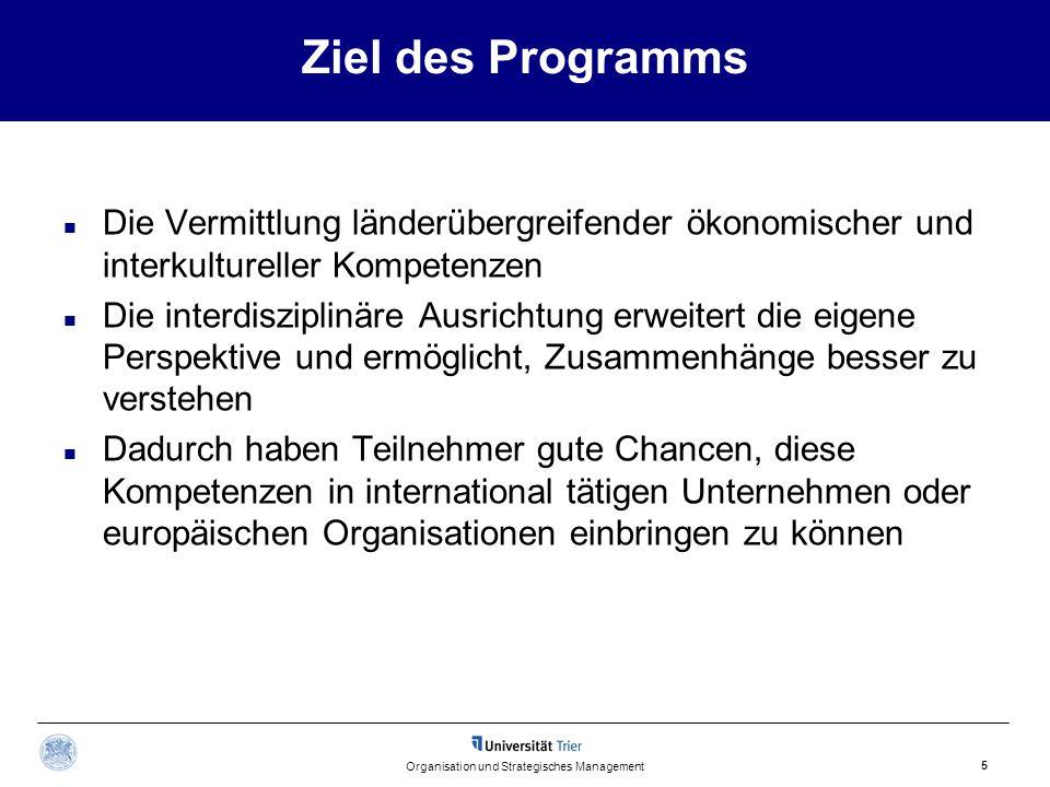 Ziel des Programms Die Vermittlung länderübergreifender ökonomischer und interkultureller Kompetenzen Die interdisziplinäre Ausrichtung erweitert die