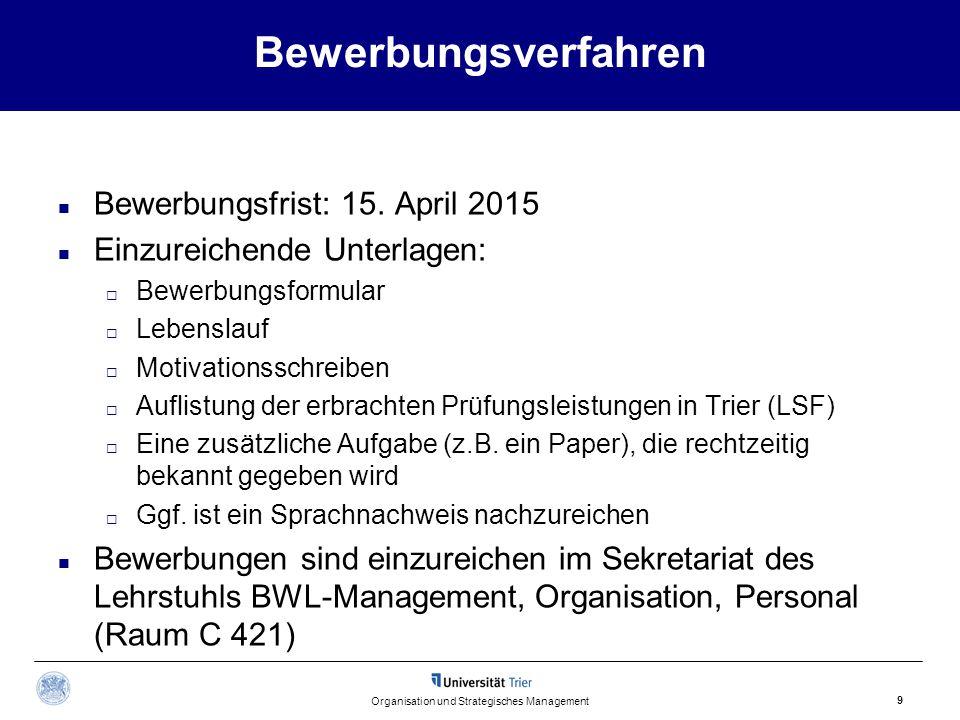 Bewerbungsverfahren Bewerbungsfrist: 15. April 2015 Einzureichende Unterlagen:  Bewerbungsformular  Lebenslauf  Motivationsschreiben  Auflistung d