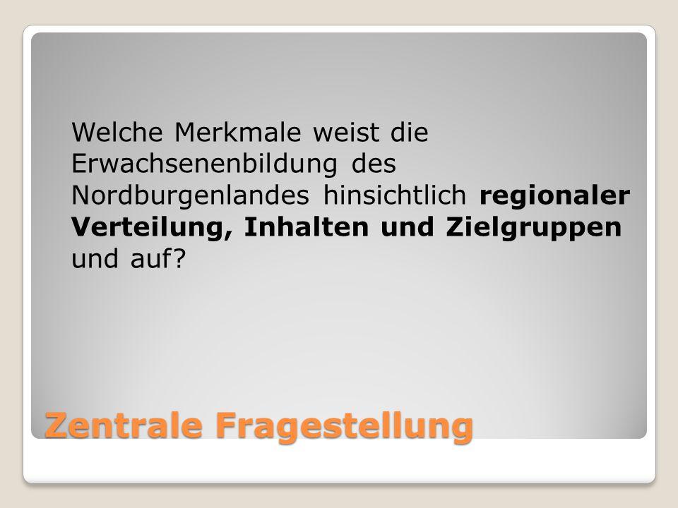 Zentrale Fragestellung Welche Merkmale weist die Erwachsenenbildung des Nordburgenlandes hinsichtlich regionaler Verteilung, Inhalten und Zielgruppen und auf