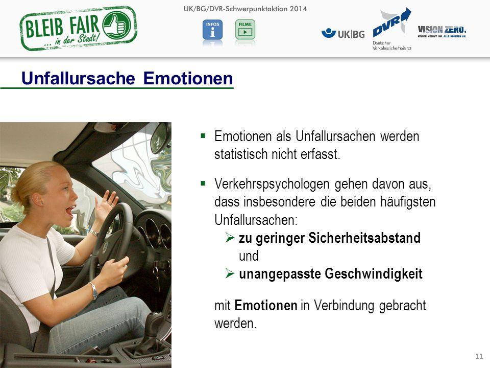 11  Emotionen als Unfallursachen werden statistisch nicht erfasst.