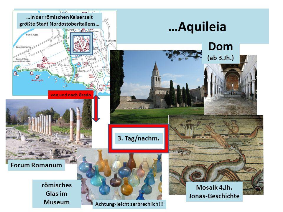 …Aquileia Forum Romanum römisches Glas im Museum Dom (ab 3.Jh.) Mosaik 4.Jh. Jonas-Geschichte von und nach Grado …in der römischen Kaiserzeit größte S
