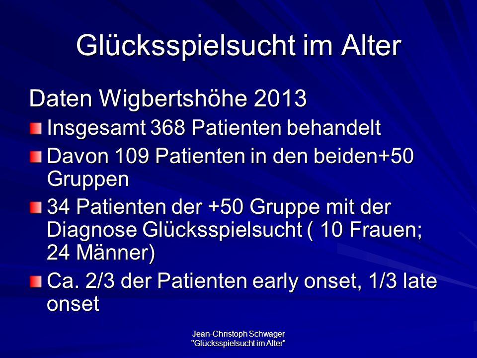 Jean-Christoph Schwager Glücksspielsucht im Alter Glücksspielsucht im Alter Daten Wigbertshöhe 2013 Insgesamt 368 Patienten behandelt Davon 109 Patienten in den beiden+50 Gruppen 34 Patienten der +50 Gruppe mit der Diagnose Glücksspielsucht ( 10 Frauen; 24 Männer) Ca.