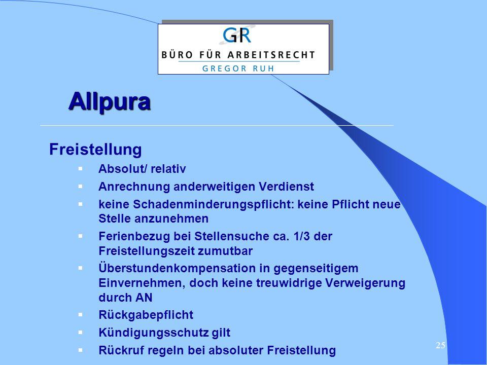 25 Allpura Freistellung  Absolut/ relativ  Anrechnung anderweitigen Verdienst  keine Schadenminderungspflicht: keine Pflicht neue Stelle anzunehmen