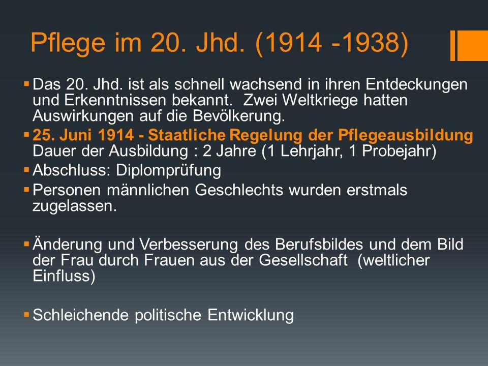 Pflege im 20.Jhd. (1914 -1938)  Das 20. Jhd.