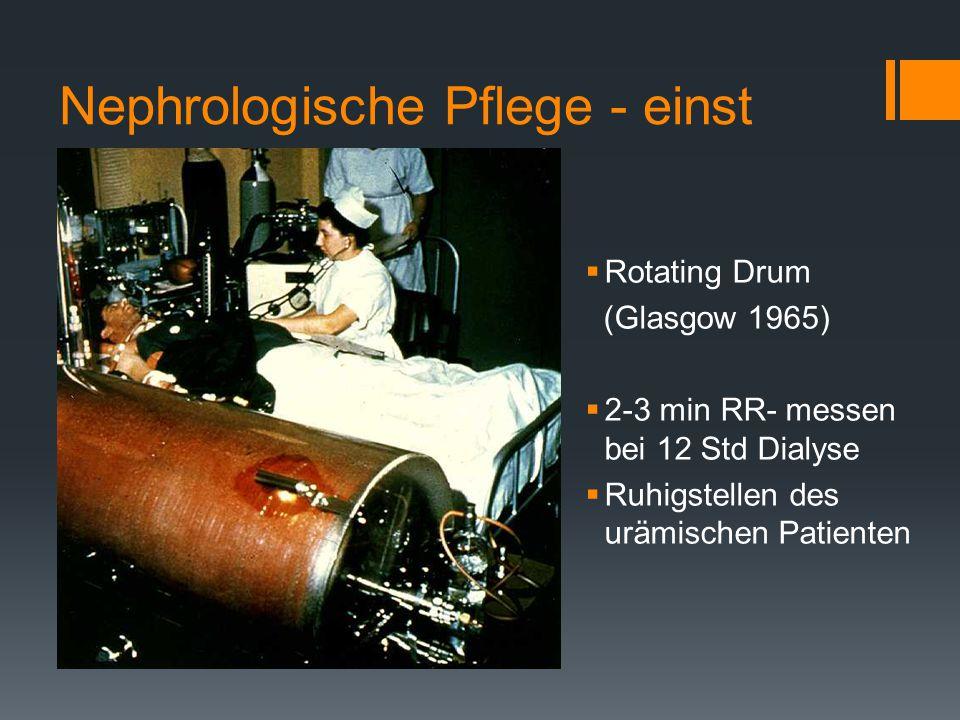Nephrologische Pflege - einst  Rotating Drum (Glasgow 1965)  2-3 min RR- messen bei 12 Std Dialyse  Ruhigstellen des urämischen Patienten