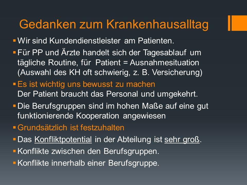 Gedanken zum Krankenhausalltag  Wir sind Kundendienstleister am Patienten.
