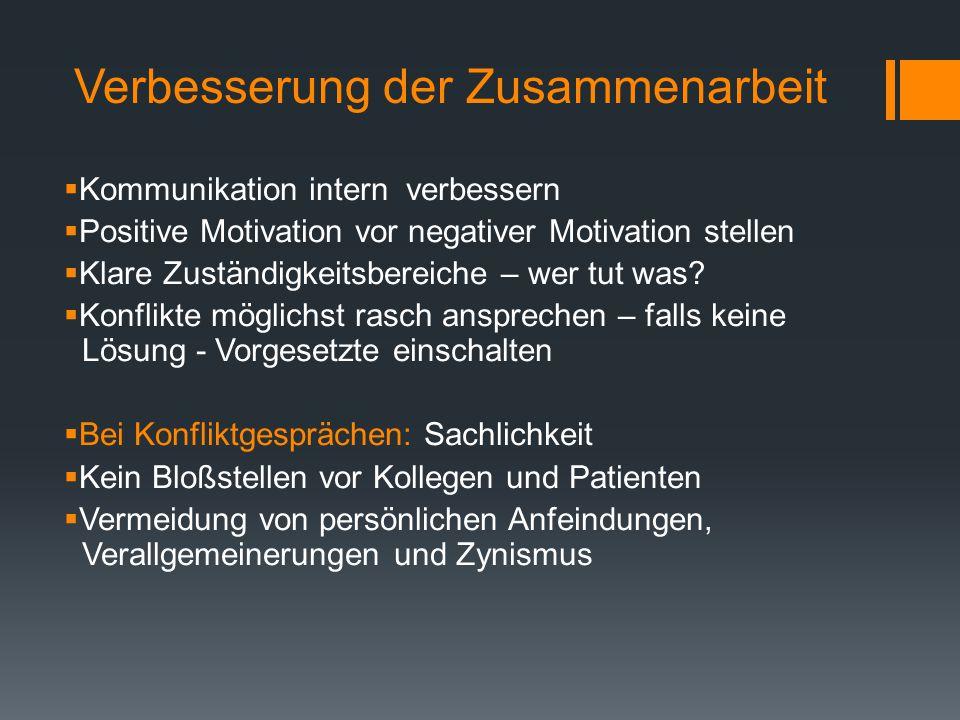 Verbesserung der Zusammenarbeit  Kommunikation intern verbessern  Positive Motivation vor negativer Motivation stellen  Klare Zuständigkeitsbereiche – wer tut was.