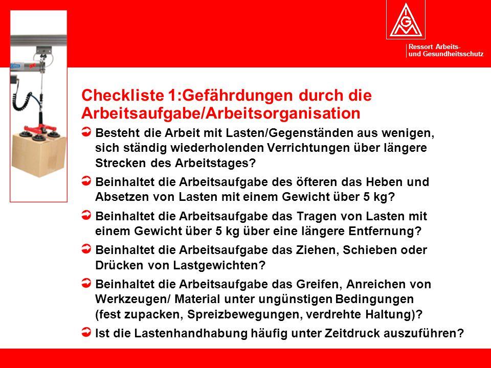Ressort Arbeits- und Gesundheitsschutz Checkliste 1:Gefährdungen durch die Arbeitsaufgabe/Arbeitsorganisation Besteht die Arbeit mit Lasten/Gegenständ