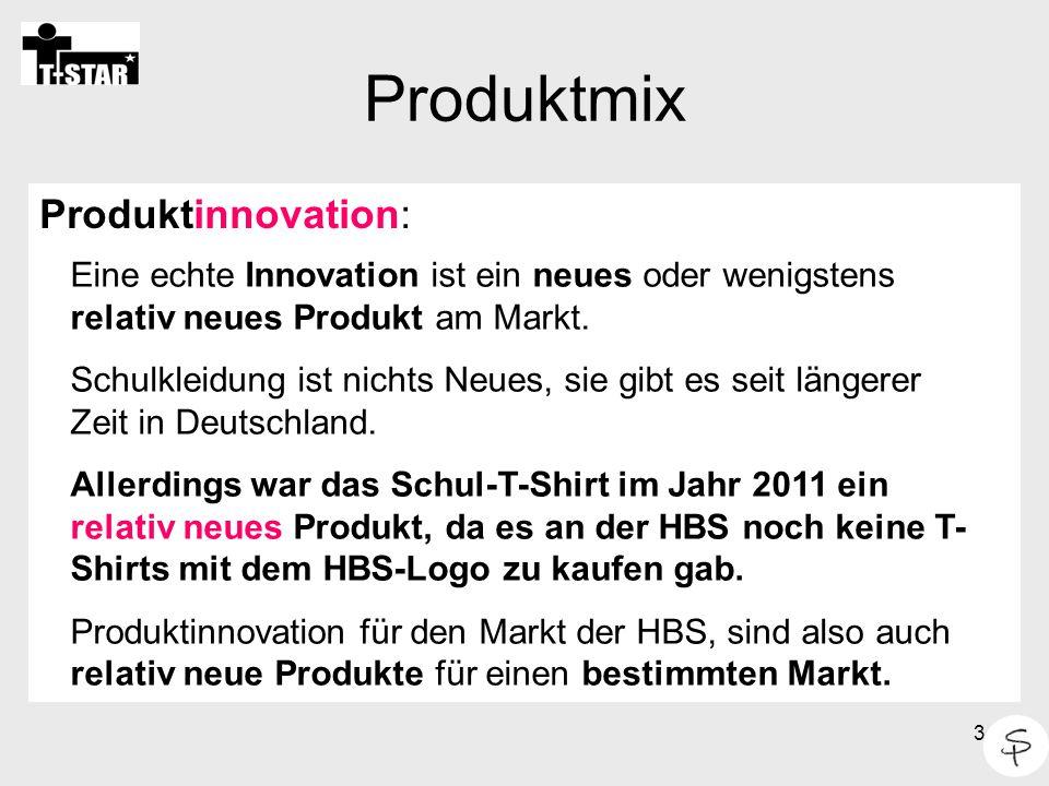 3 Produktmix Produktinnovation: Eine echte Innovation ist ein neues oder wenigstens relativ neues Produkt am Markt. Schulkleidung ist nichts Neues, si