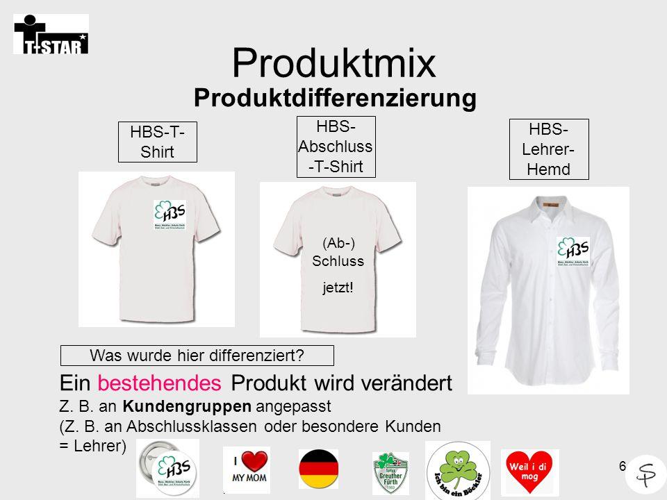 6 Produktmix HBS-T- Shirt Ein bestehendes Produkt wird verändert Z. B. an Kundengruppen angepasst (Z. B. an Abschlussklassen oder besondere Kunden = L