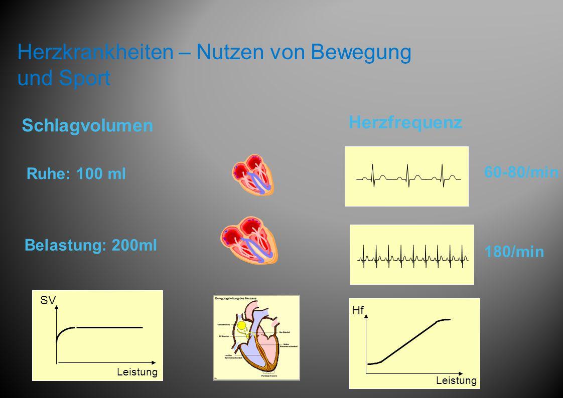 SV Leistung Ruhe: 100 ml Belastung: 200ml Schlagvolumen Herzfrequenz Hf Leistung 60-80/min 180/min Herzkrankheiten – Nutzen von Bewegung und Sport