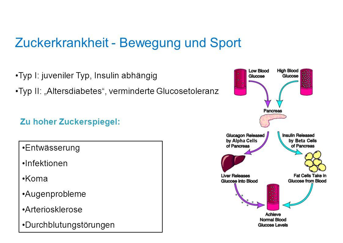 """Zuckerkrankheit - Bewegung und Sport Typ I: juveniler Typ, Insulin abhängig Typ II: """"Altersdiabetes"""", verminderte Glucosetoleranz Zu hoher Zuckerspieg"""