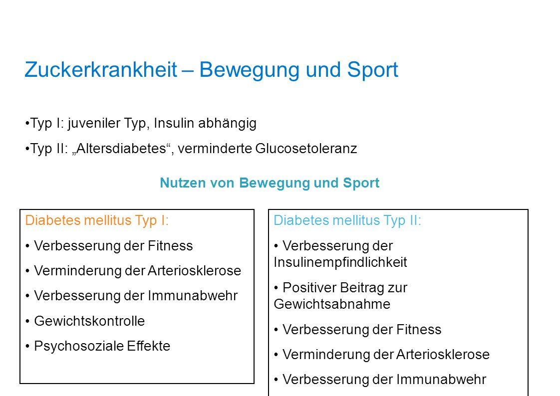 """Zuckerkrankheit – Bewegung und Sport Typ I: juveniler Typ, Insulin abhängig Typ II: """"Altersdiabetes"""", verminderte Glucosetoleranz Nutzen von Bewegung"""
