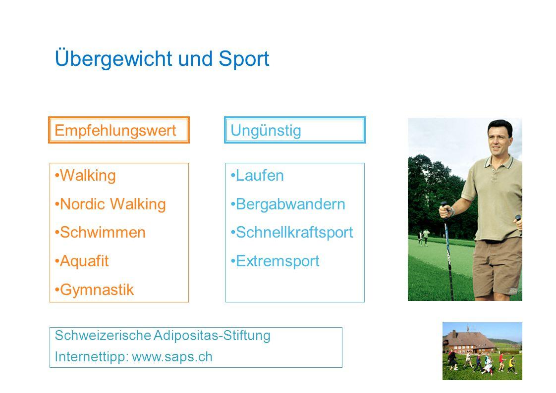 Übergewicht und Sport Schweizerische Adipositas-Stiftung Internettipp: www.saps.ch Empfehlungswert Walking Nordic Walking Schwimmen Aquafit Gymnastik