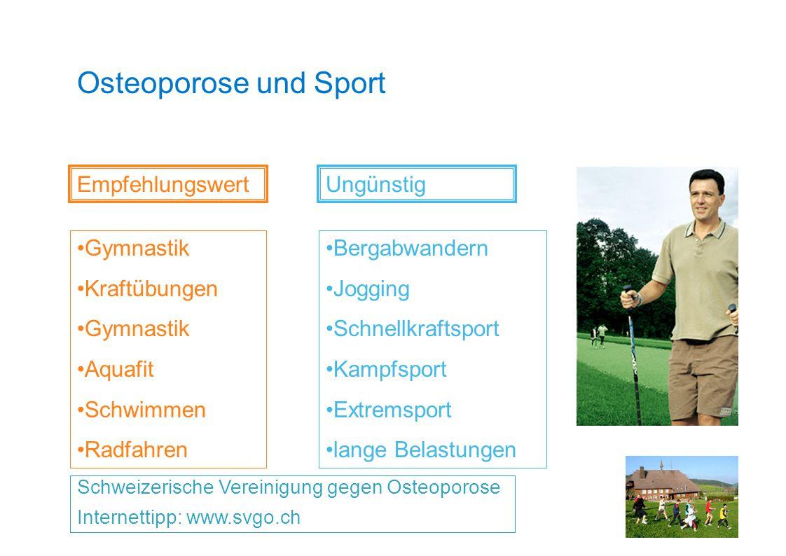 Osteoporose und Sport Schweizerische Vereinigung gegen Osteoporose Internettipp: www.svgo.ch Empfehlungswert Gymnastik Kraftübungen Gymnastik Aquafit