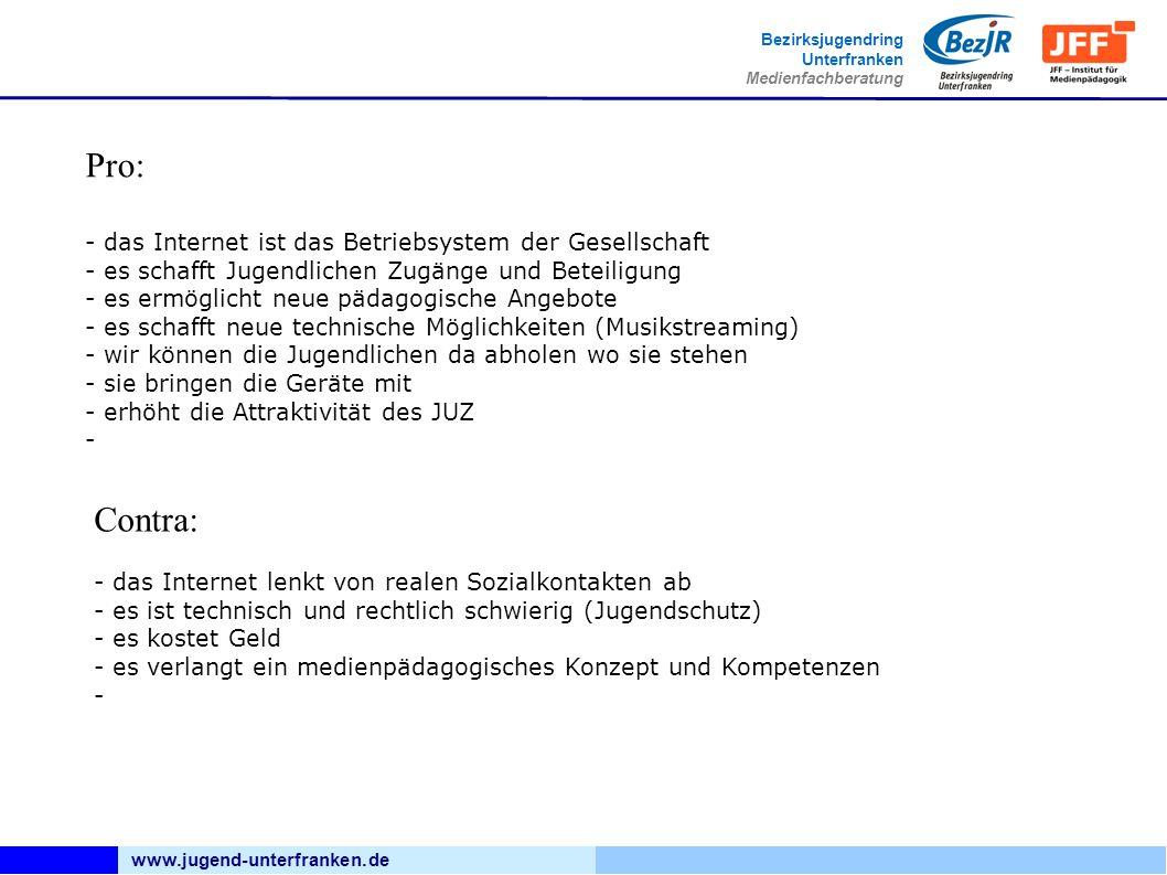 www.jugend-unterfranken.de Bezirksjugendring Unterfranken Medienfachberatung Pro: - das Internet ist das Betriebsystem der Gesellschaft - es schafft J