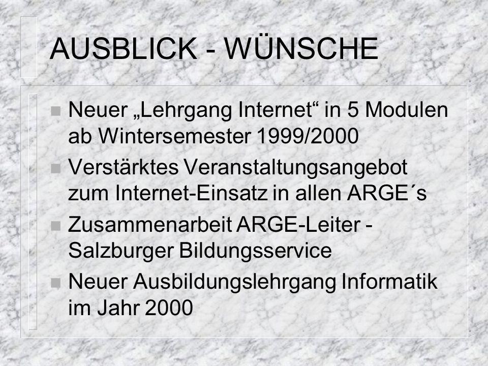 "AUSBLICK - WÜNSCHE n Neuer ""Lehrgang Internet"" in 5 Modulen ab Wintersemester 1999/2000 n Verstärktes Veranstaltungsangebot zum Internet-Einsatz in al"