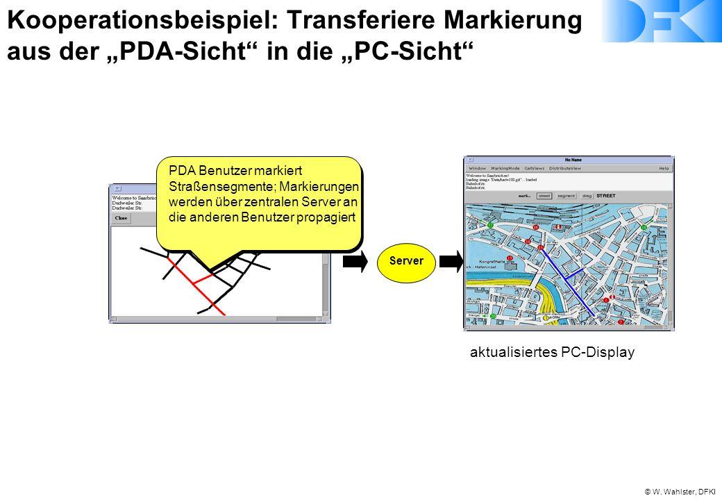 © W. Wahlster, DFKI aktualisiertes PC-Display Server PDA Benutzer markiert Straßensegmente; Markierungen werden über zentralen Server an die anderen B