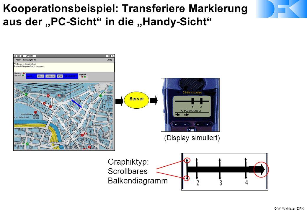 """© W. Wahlster, DFKI Server (Display simuliert) Graphiktyp: Scrollbares Balkendiagramm Kooperationsbeispiel: Transferiere Markierung aus der """"PC-Sicht"""""""