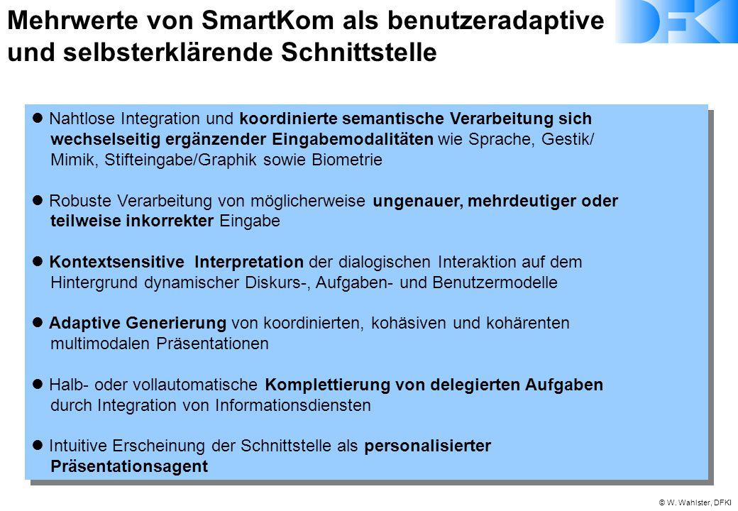© W. Wahlster, DFKI Mehrwerte von SmartKom als benutzeradaptive und selbsterklärende Schnittstelle Nahtlose Integration und koordinierte semantische V