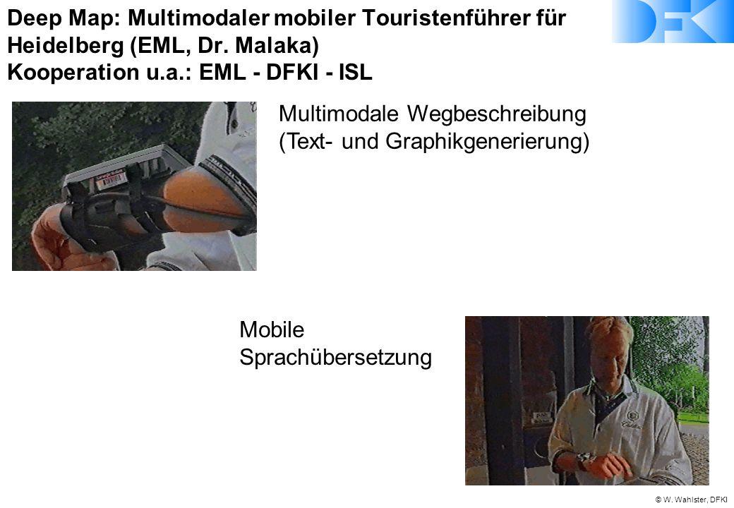 © W. Wahlster, DFKI Multimodale Wegbeschreibung (Text- und Graphikgenerierung) Mobile Sprachübersetzung Deep Map: Multimodaler mobiler Touristenführer