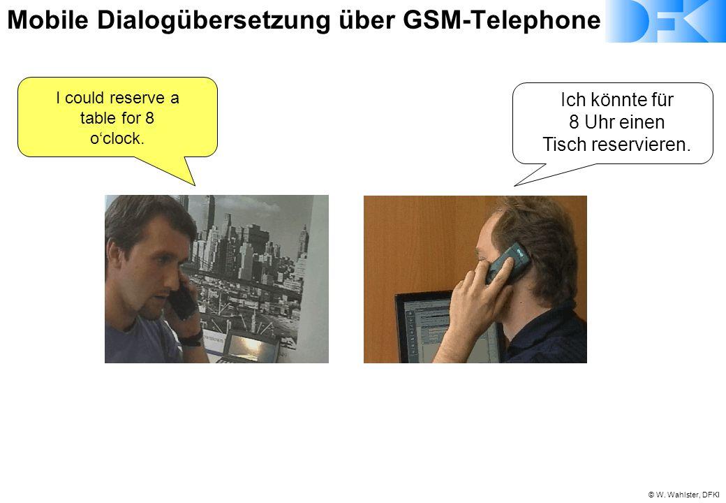 © W. Wahlster, DFKI Ich könnte für 8 Uhr einen Tisch reservieren. I could reserve a table for 8 o'clock. Mobile Dialogübersetzung über GSM-Telephone