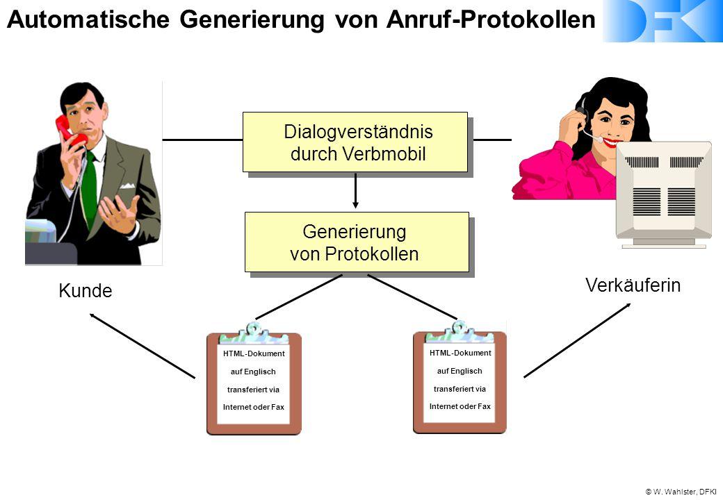 © W. Wahlster, DFKI Dialogverständnis durch Verbmobil Generierung von Protokollen HTML-Dokument auf Englisch transferiert via Internet oder Fax Kunde