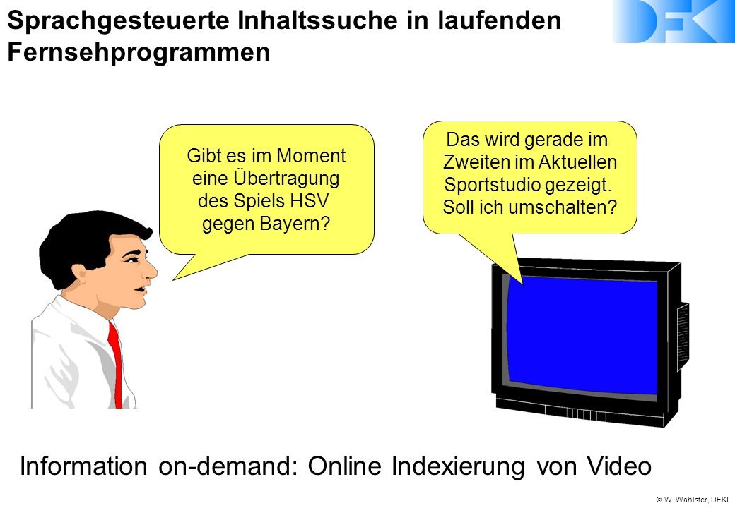 © W. Wahlster, DFKI Gibt es im Moment eine Übertragung des Spiels HSV gegen Bayern? Das wird gerade im Zweiten im Aktuellen Sportstudio gezeigt. Soll
