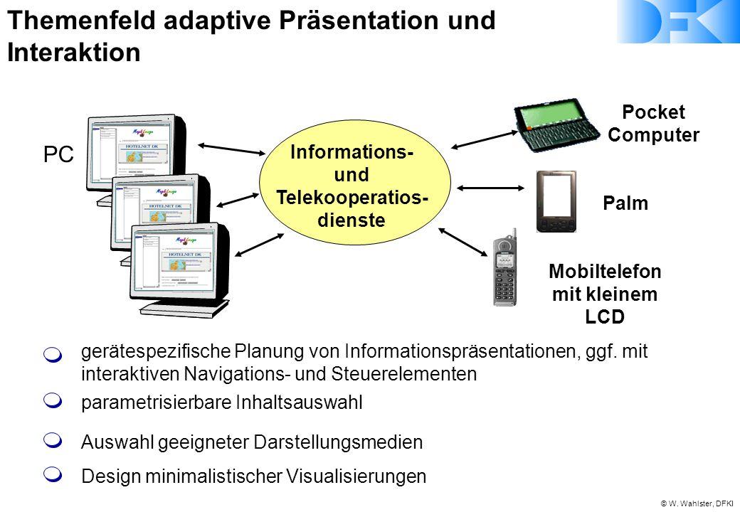 © W. Wahlster, DFKI PC Mobiltelefon mit kleinem LCD Pocket Computer Palm Informations- und Telekooperatios- dienste gerätespezifische Planung von Info