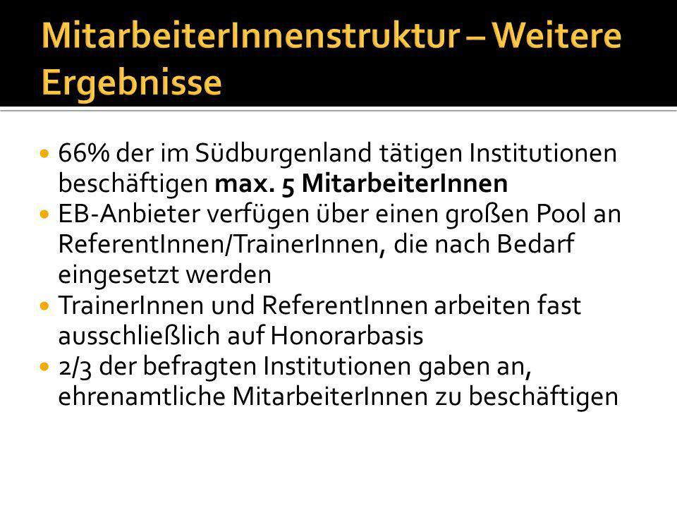66% der im Südburgenland tätigen Institutionen beschäftigen max.