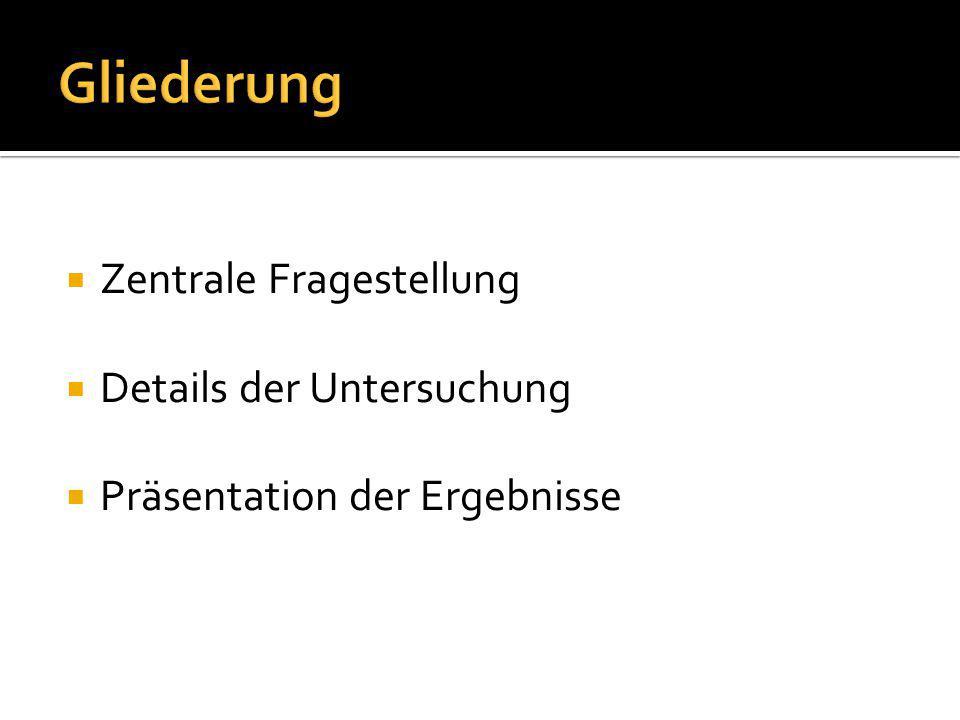  Zentrale Fragestellung  Details der Untersuchung  Präsentation der Ergebnisse