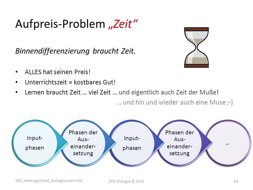 """Aufpreis-Problem """"Zeit Binnendifferenzierung braucht Zeit."""