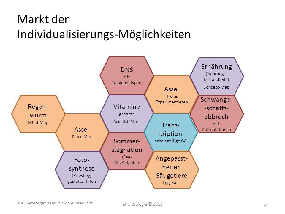 Markt der Individualisierungs-Möglichkeiten ZPG Biologie © 201317 Assel Place Mat Assel freies Experimentieren Vitamine gestufte Arbeitsblätter DNS diff.
