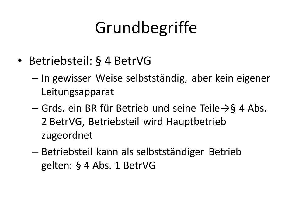 Grundbegriffe Betriebsteil: § 4 BetrVG – In gewisser Weise selbstständig, aber kein eigener Leitungsapparat – Grds.
